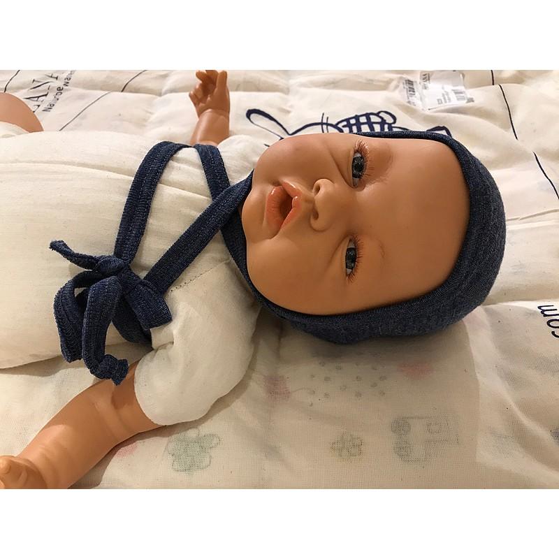 Engel Baby Häubchen mit Bindebändchen Bio-Schurwolle