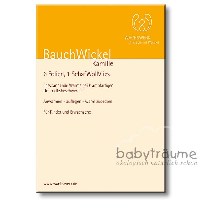 BauchWickel Kamille, 6 Wachs-Folien + Vlies (100% Schurwolle), ab 8 W