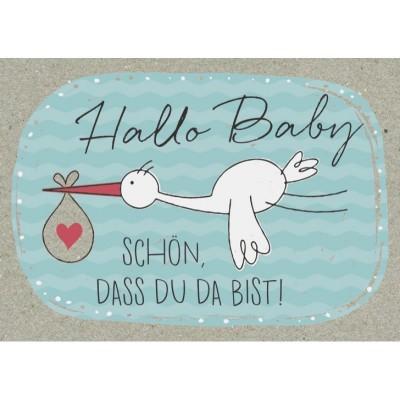 Glückwunschkarte Mit Storch Zeichnung Hallo Baby Schön Dass Du Da Bist Inkl Umschlag