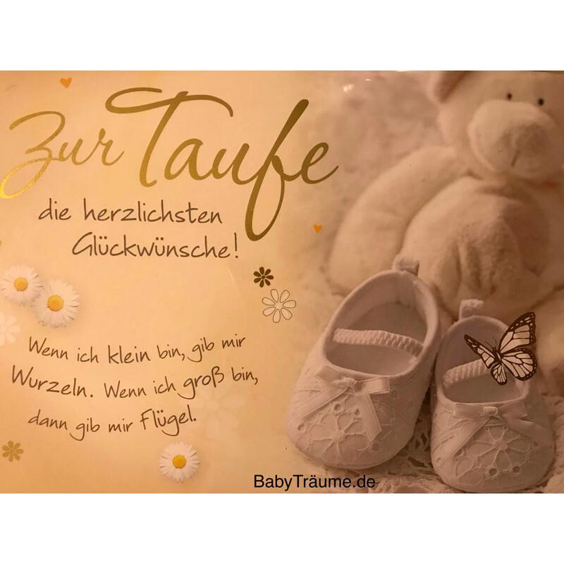 Glückwunschkarte Zur Taufe Die Herzlichsten Glückwünsche Bär Taufschuhe